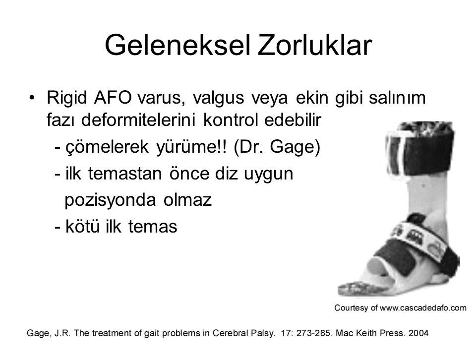 Geleneksel Zorluklar Rigid AFO varus, valgus veya ekin gibi salınım fazı deformitelerini kontrol edebilir.