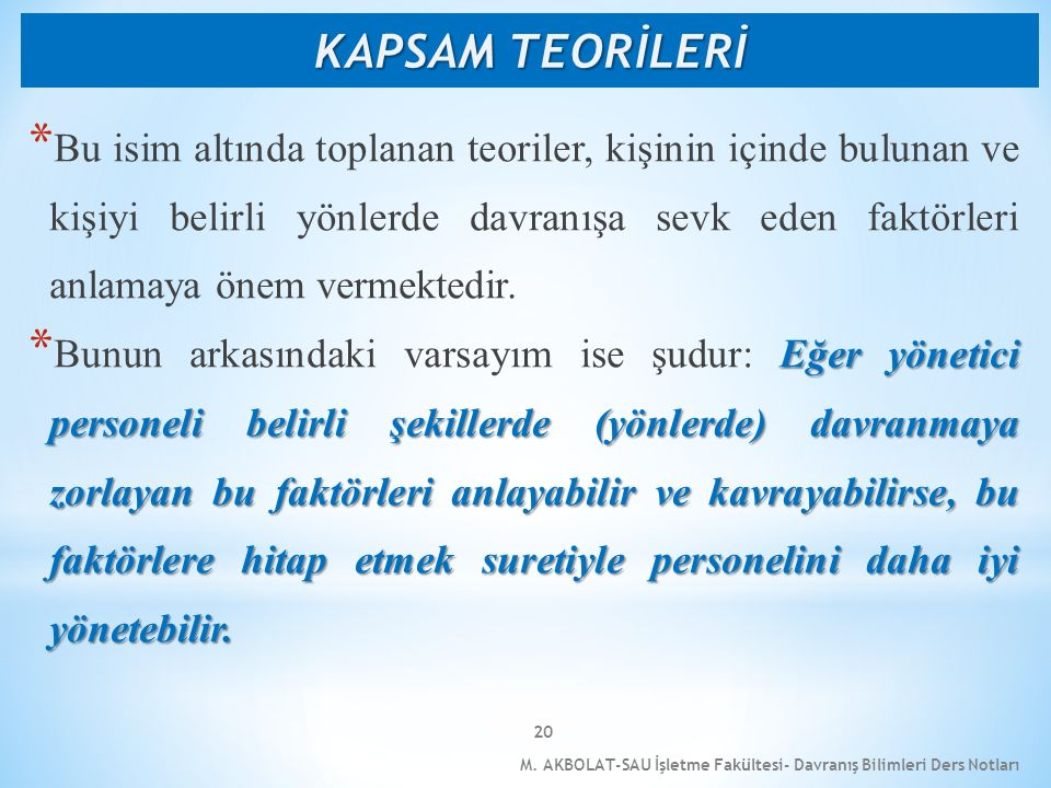 KAPSAM TEORİLERİ