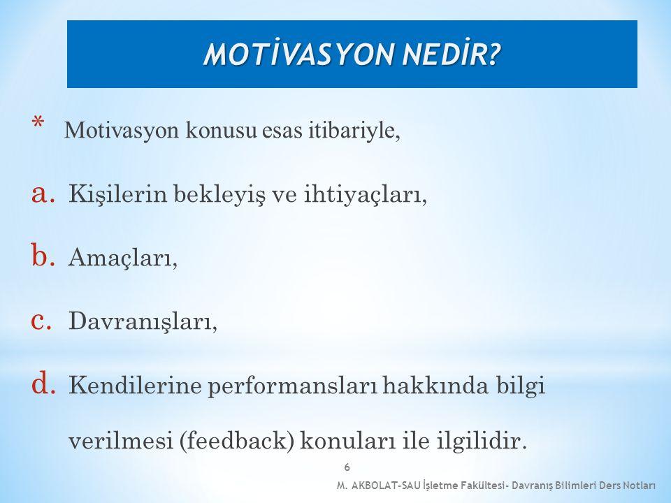 MOTİVASYON NEDİR Motivasyon konusu esas itibariyle,