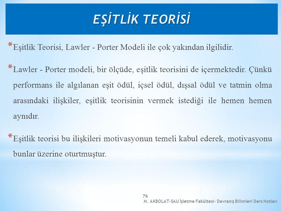 EŞİTLİK TEORİSİ Eşitlik Teorisi, Lawler - Porter Modeli ile çok yakından ilgilidir.