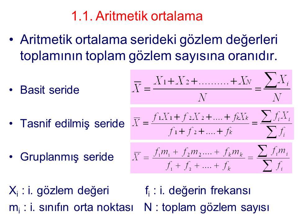 1.1. Aritmetik ortalama Aritmetik ortalama serideki gözlem değerleri toplamının toplam gözlem sayısına oranıdır.