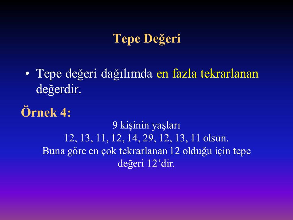 Buna göre en çok tekrarlanan 12 olduğu için tepe değeri 12'dir.