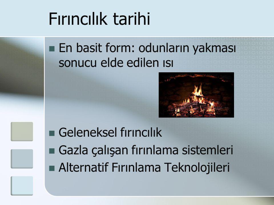 Fırıncılık tarihi En basit form: odunların yakması sonucu elde edilen ısı. Geleneksel fırıncılık. Gazla çalışan fırınlama sistemleri.
