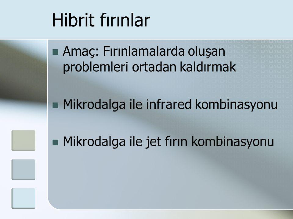 Hibrit fırınlar Amaç: Fırınlamalarda oluşan problemleri ortadan kaldırmak. Mikrodalga ile infrared kombinasyonu.
