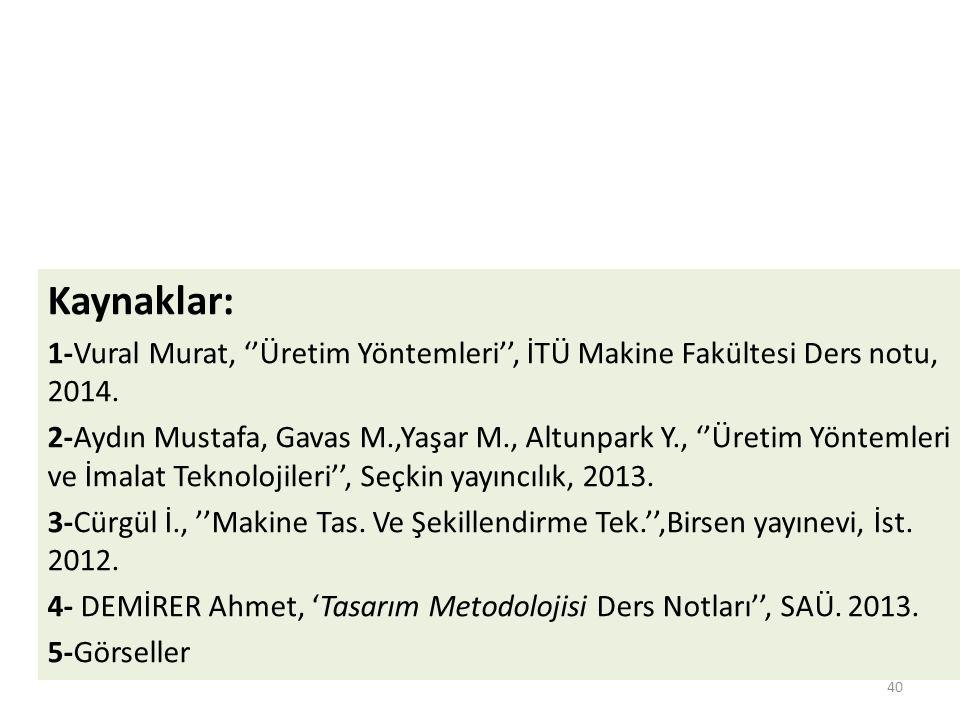 Kaynaklar: 1-Vural Murat, ''Üretim Yöntemleri'', İTÜ Makine Fakültesi Ders notu, 2014.