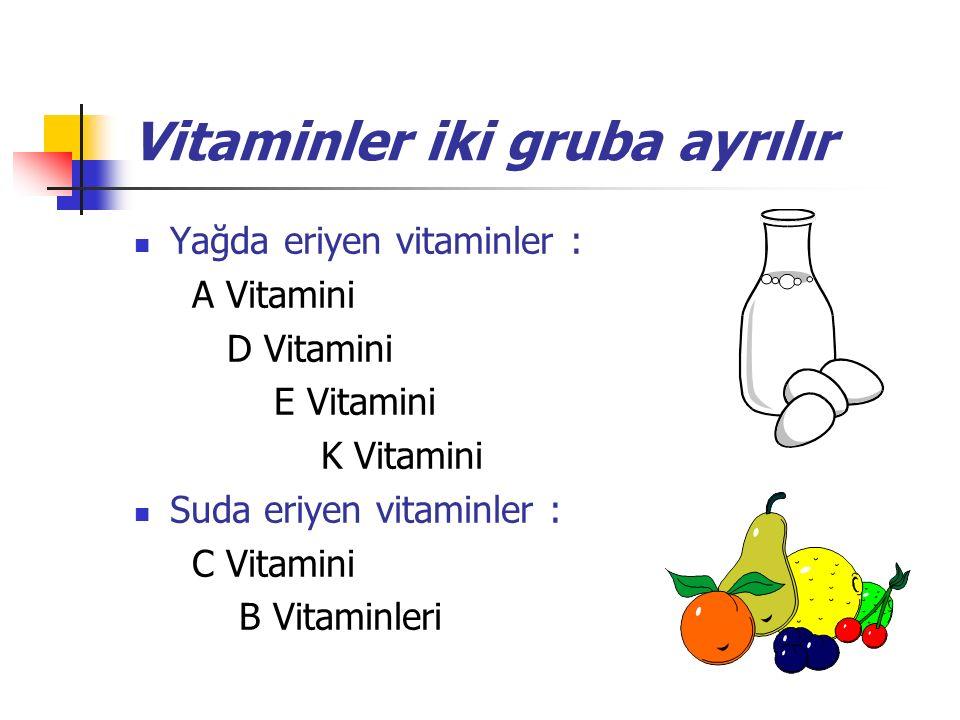 Vitaminler iki gruba ayrılır