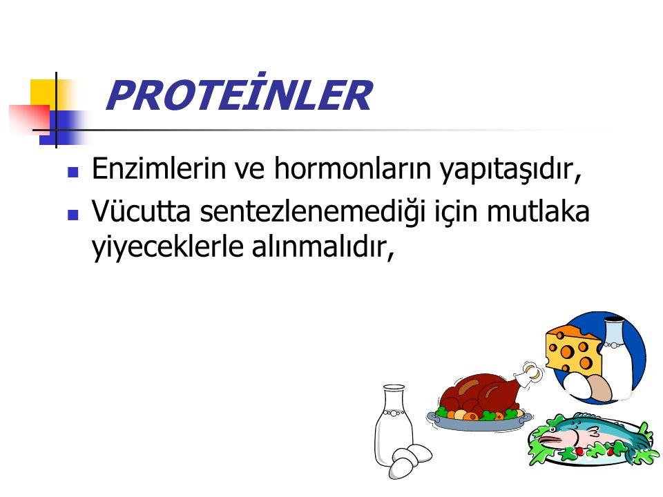 PROTEİNLER Enzimlerin ve hormonların yapıtaşıdır,