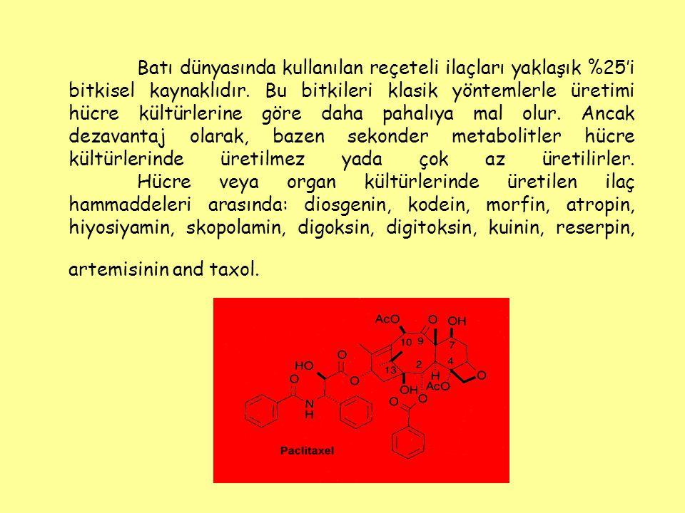 Batı dünyasında kullanılan reçeteli ilaçları yaklaşık %25'i bitkisel kaynaklıdır.