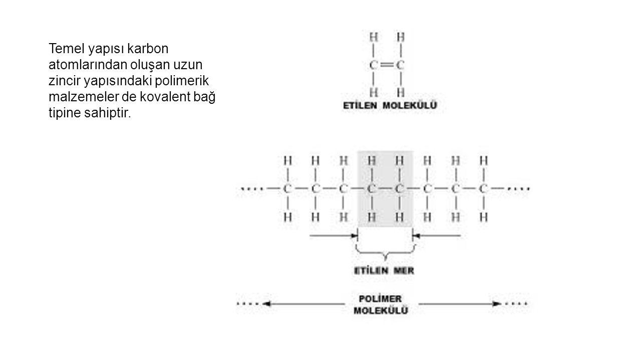 Temel yapısı karbon atomlarından oluşan uzun zincir yapısındaki polimerik malzemeler de kovalent bağ tipine sahiptir.