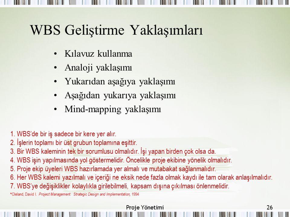 WBS Geliştirme Yaklaşımları