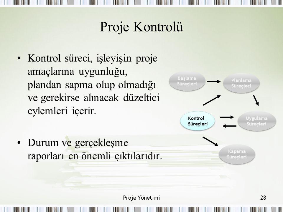 Proje Kontrolü Kontrol süreci, işleyişin proje amaçlarına uygunluğu, plandan sapma olup olmadığı ve gerekirse alınacak düzeltici eylemleri içerir.