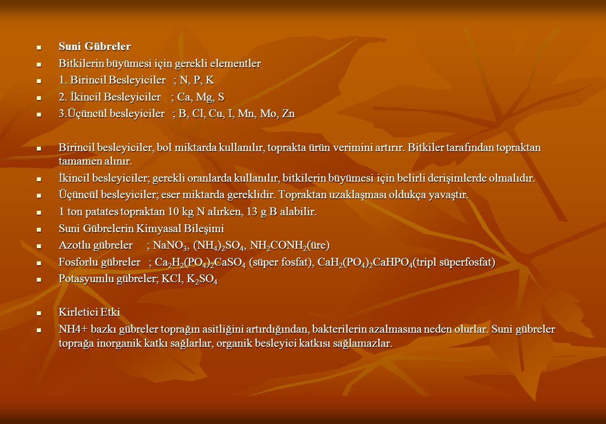 Suni Gübreler Bitkilerin büyümesi için gerekli elementler. 1. Birincil Besleyiciler ; N, P, K. 2. İkincil Besleyiciler ; Ca, Mg, S.