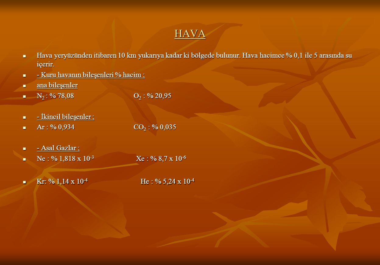 HAVA Hava yeryüzünden itibaren 10 km yukarıya kadar ki bölgede bulunur. Hava hacimce % 0,1 ile 5 arasında su içerir.