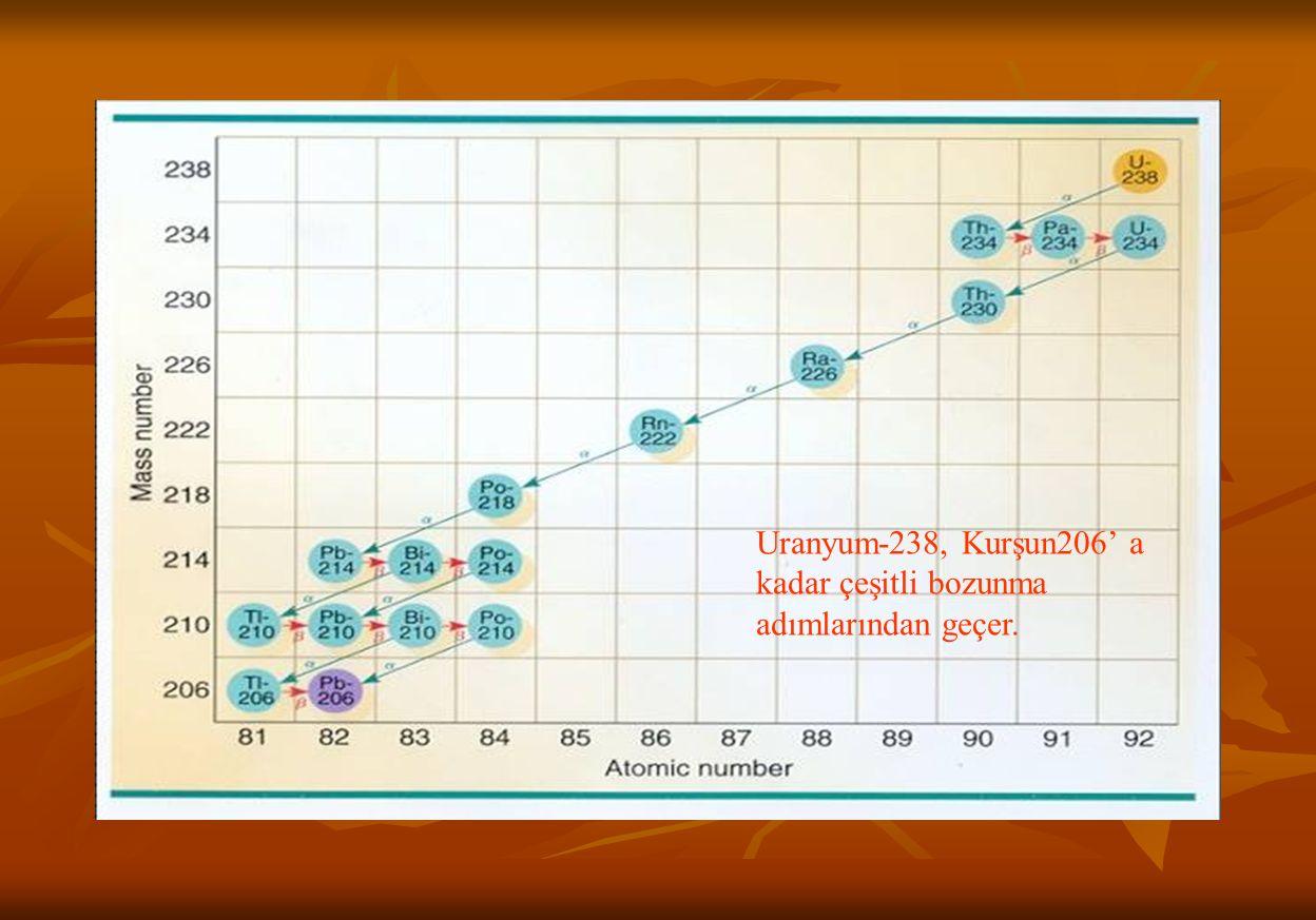 Uranyum-238, Kurşun206' a kadar çeşitli bozunma adımlarından geçer.