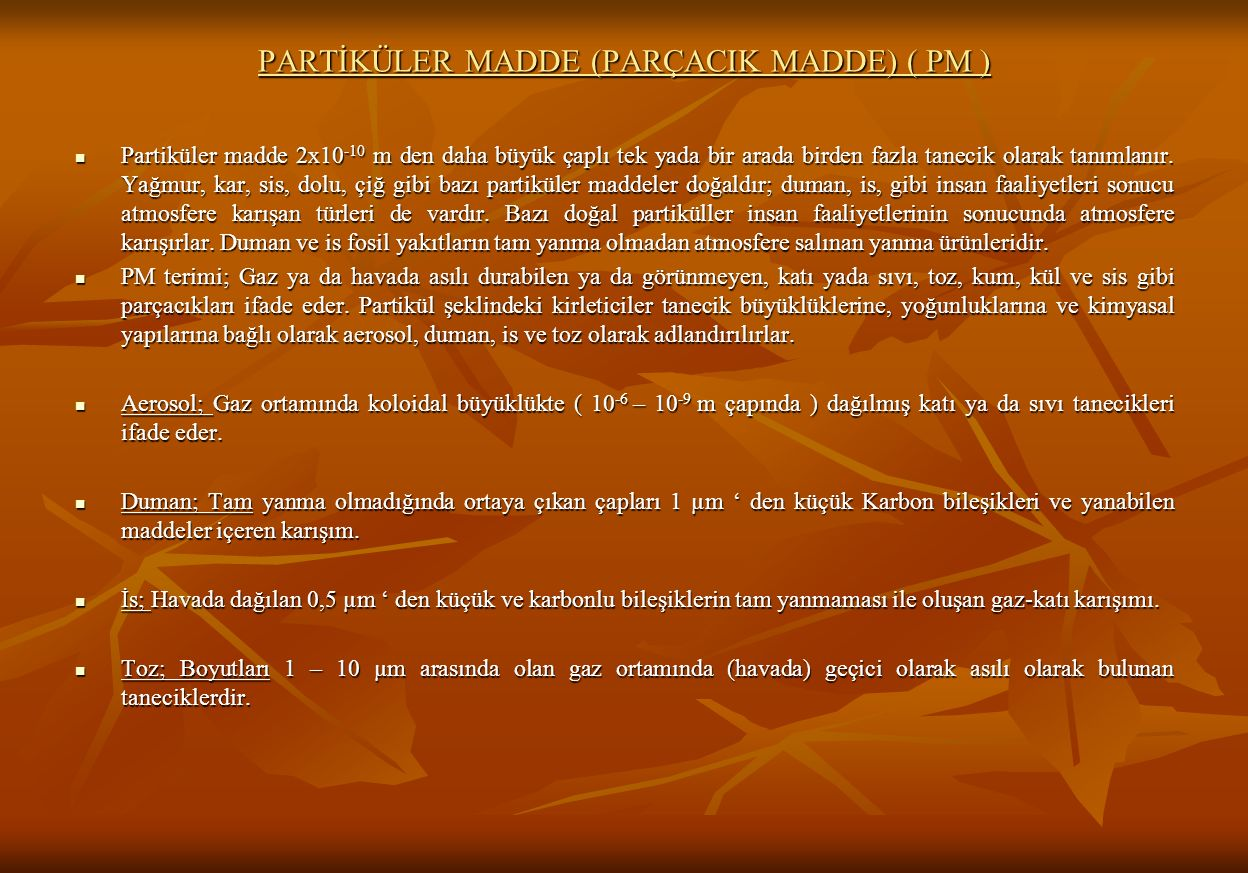 PARTİKÜLER MADDE (PARÇACIK MADDE) ( PM )
