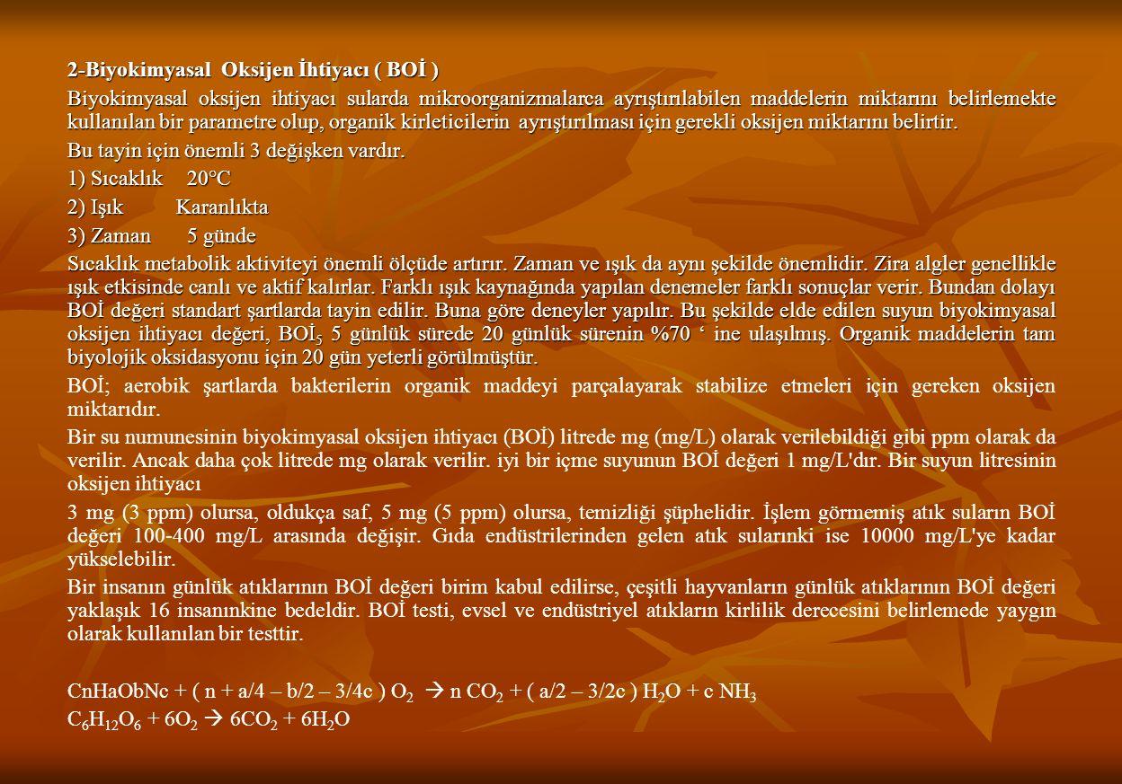 2-Biyokimyasal Oksijen İhtiyacı ( BOİ )