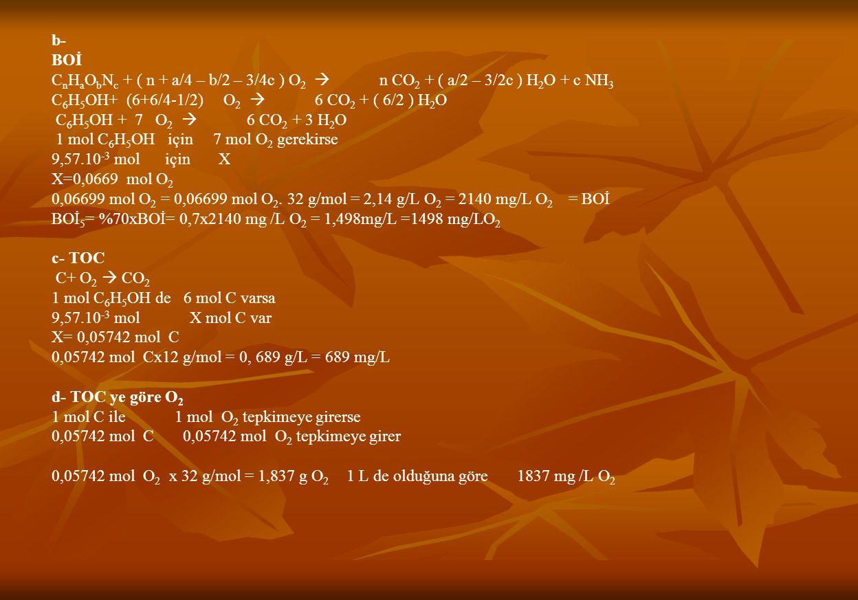b- BOİ. CnHaObNc + ( n + a/4 – b/2 – 3/4c ) O2  n CO2 + ( a/2 – 3/2c ) H2O + c NH3.