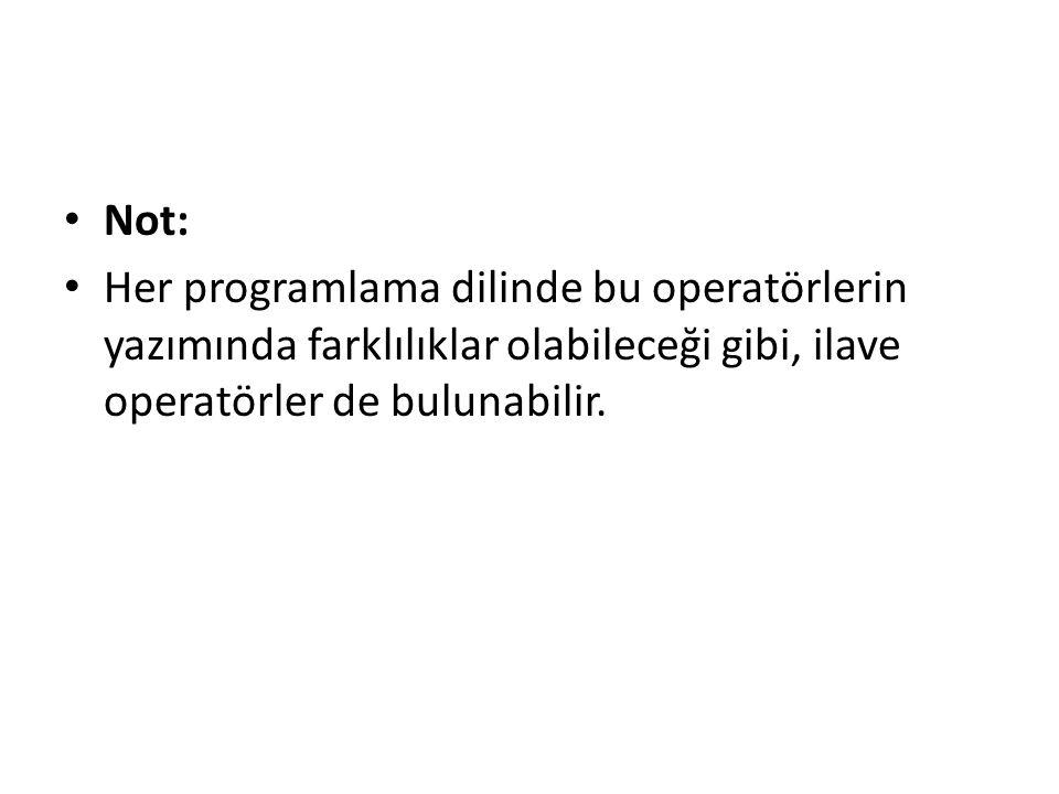 Not: Her programlama dilinde bu operatörlerin yazımında farklılıklar olabileceği gibi, ilave operatörler de bulunabilir.