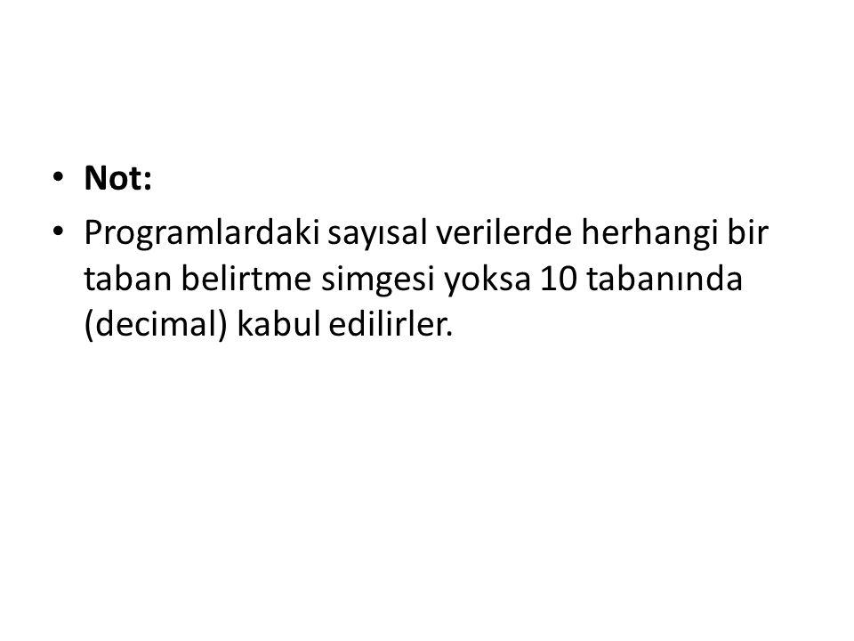 Not: Programlardaki sayısal verilerde herhangi bir taban belirtme simgesi yoksa 10 tabanında (decimal) kabul edilirler.