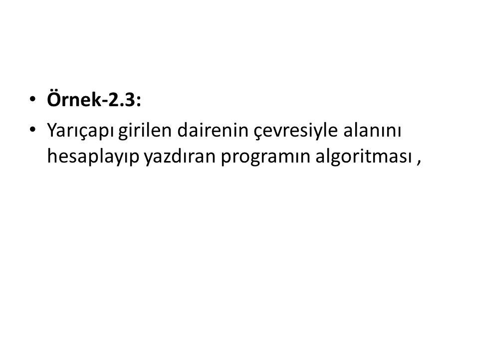 Örnek-2.3: Yarıçapı girilen dairenin çevresiyle alanını hesaplayıp yazdıran programın algoritması ,