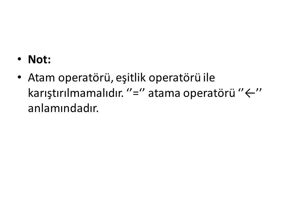 Not: Atam operatörü, eşitlik operatörü ile karıştırılmamalıdır.