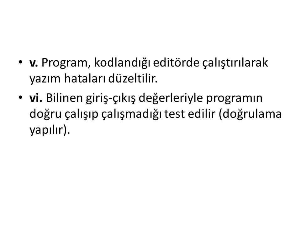 v. Program, kodlandığı editörde çalıştırılarak yazım hataları düzeltilir.