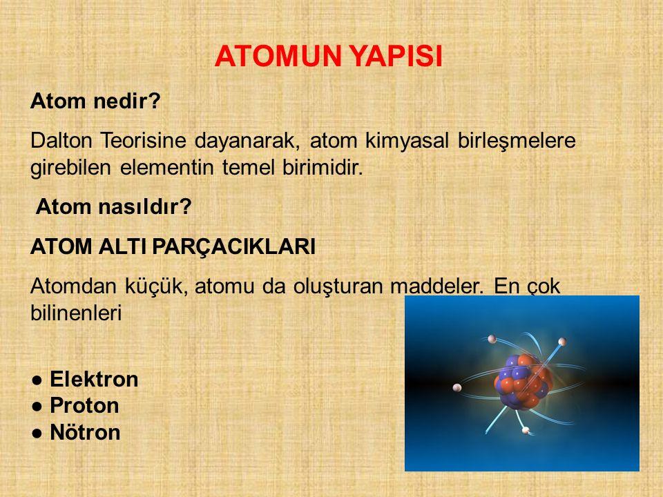 ATOMUN YAPISI Atom nedir