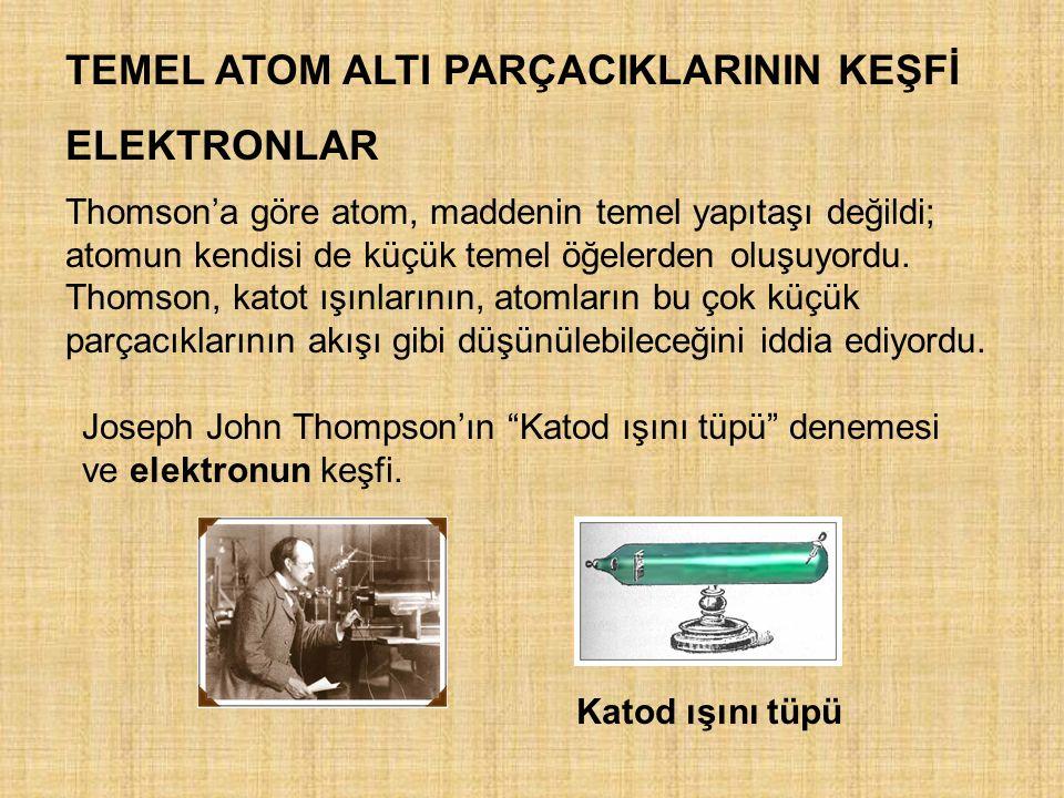TEMEL ATOM ALTI PARÇACIKLARININ KEŞFİ ELEKTRONLAR