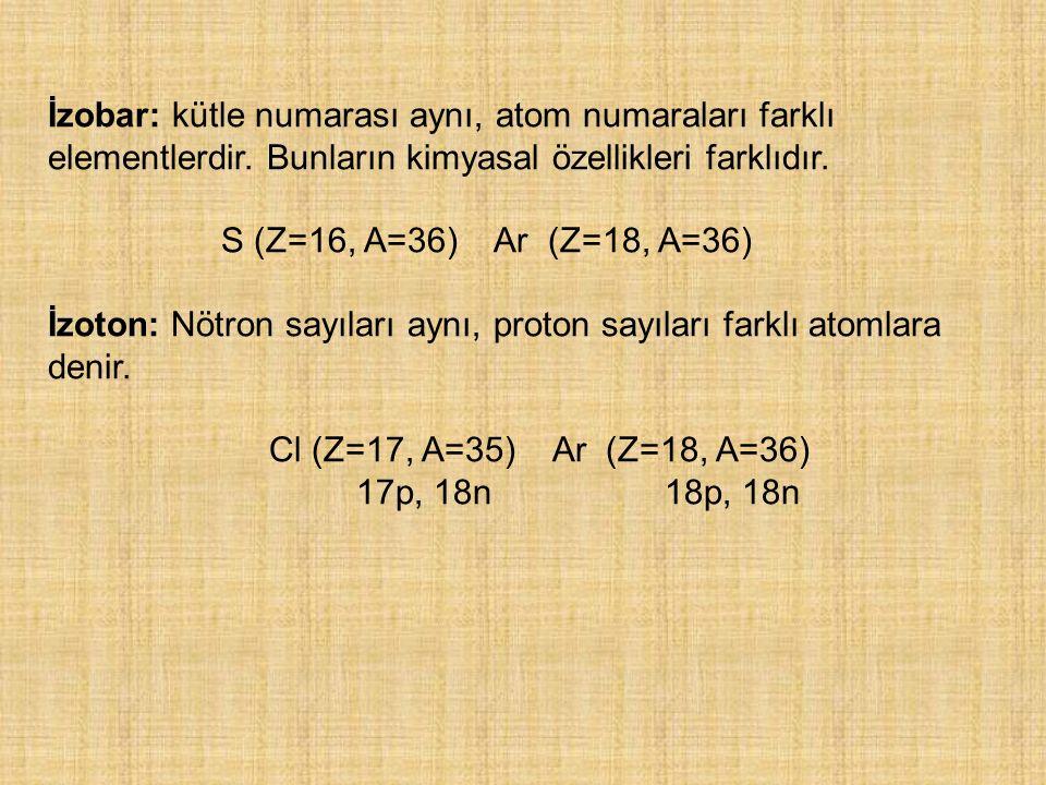İzobar: kütle numarası aynı, atom numaraları farklı elementlerdir