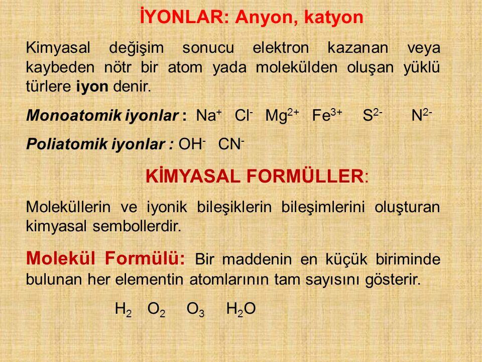 İYONLAR: Anyon, katyon KİMYASAL FORMÜLLER: