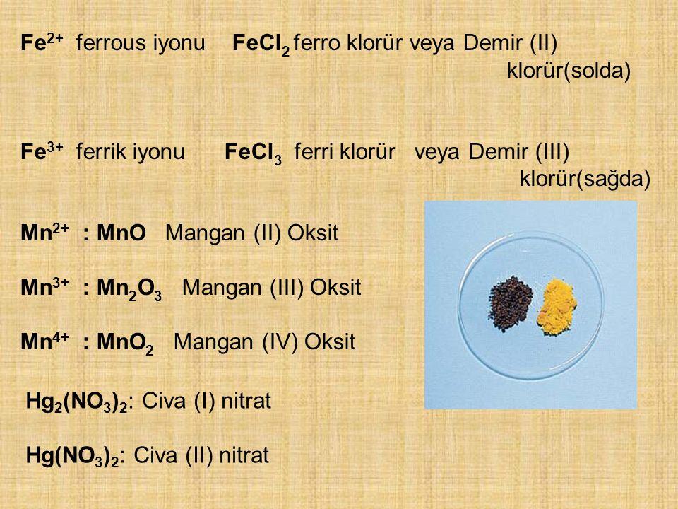 Fe2+ ferrous iyonu FeCl2 ferro klorür veya Demir (II)