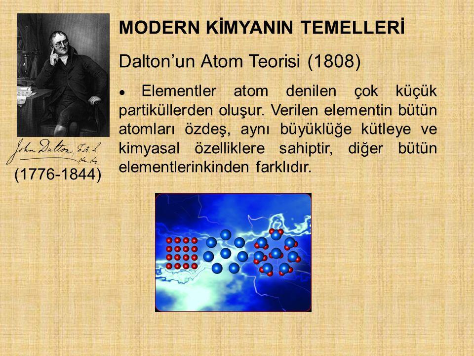 MODERN KİMYANIN TEMELLERİ Dalton'un Atom Teorisi (1808)