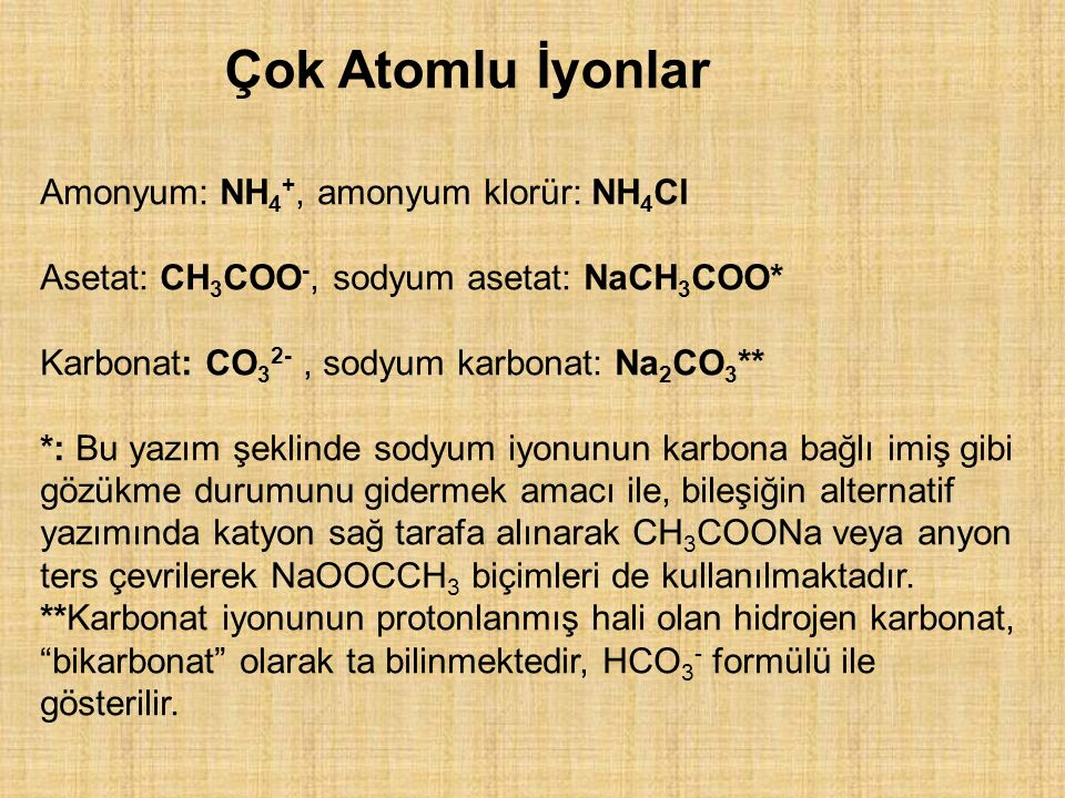 Çok Atomlu İyonlar Amonyum: NH4+, amonyum klorür: NH4Cl