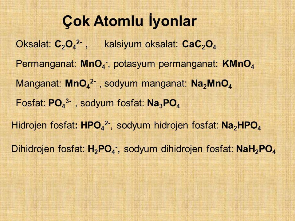 Çok Atomlu İyonlar Oksalat: C2O42- , kalsiyum oksalat: CaC2O4