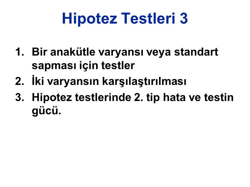 Hipotez Testleri 3 Bir anakütle varyansı veya standart sapması için testler. İki varyansın karşılaştırılması.