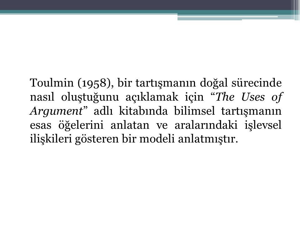 Toulmin (1958), bir tartışmanın doğal sürecinde nasıl oluştuğunu açıklamak için The Uses of Argument adlı kitabında bilimsel tartışmanın esas öğelerini anlatan ve aralarındaki işlevsel ilişkileri gösteren bir modeli anlatmıştır.