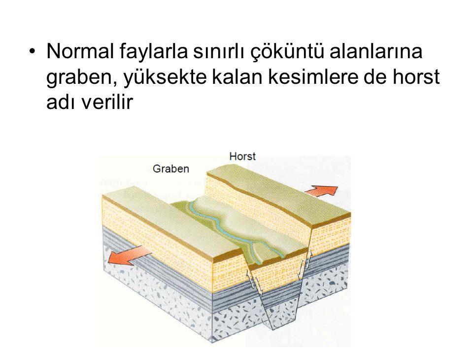 Normal faylarla sınırlı çöküntü alanlarına graben, yüksekte kalan kesimlere de horst adı verilir
