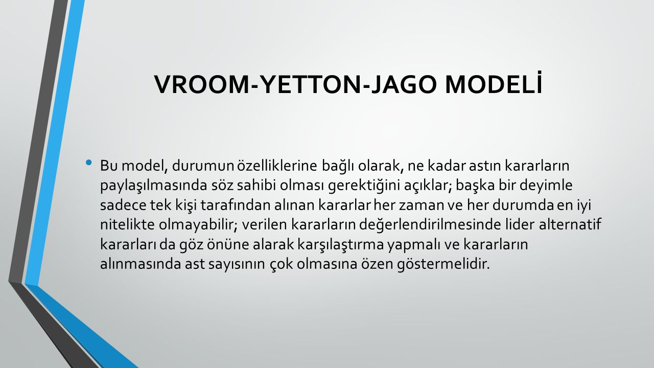 VROOM-YETTON-JAGO MODELİ