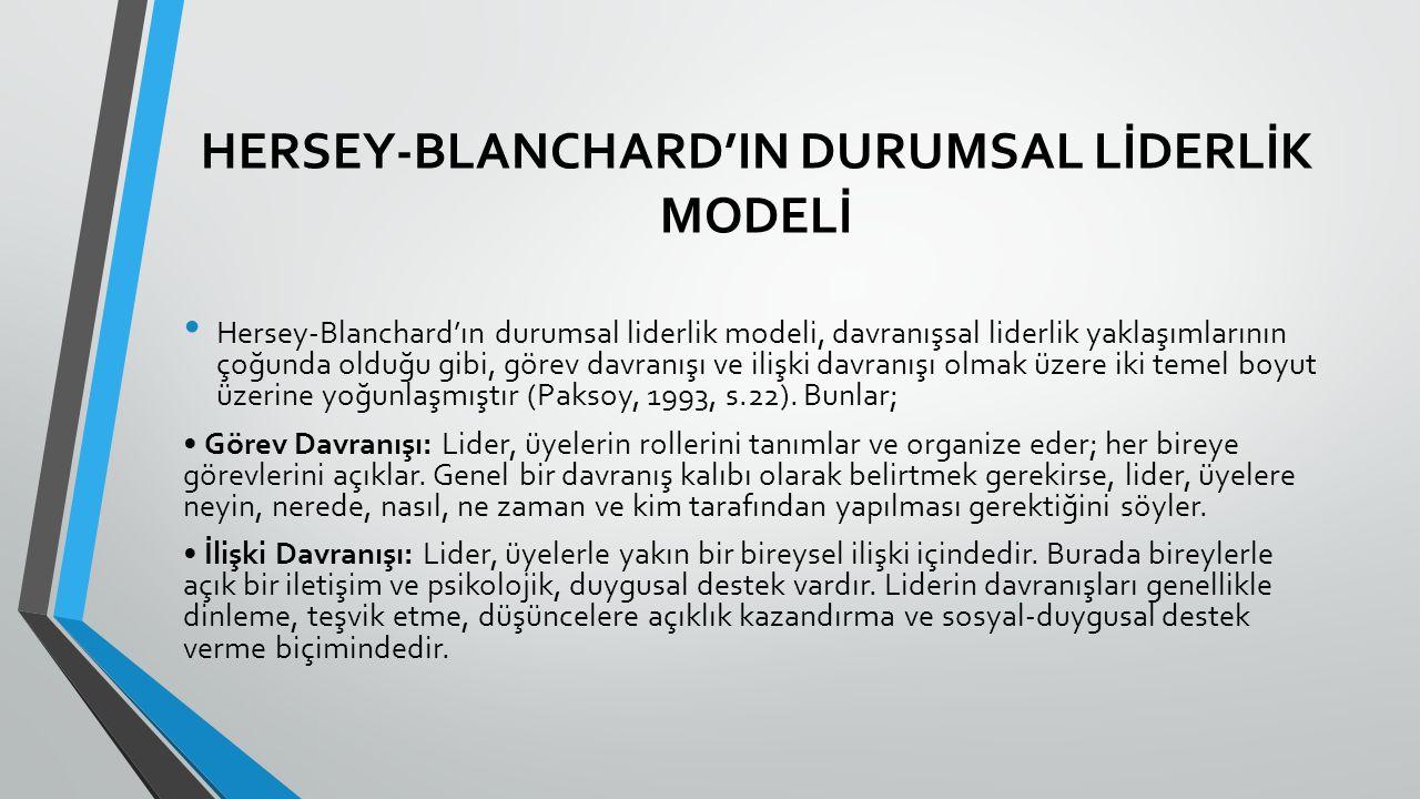 HERSEY-BLANCHARD'IN DURUMSAL LİDERLİK MODELİ
