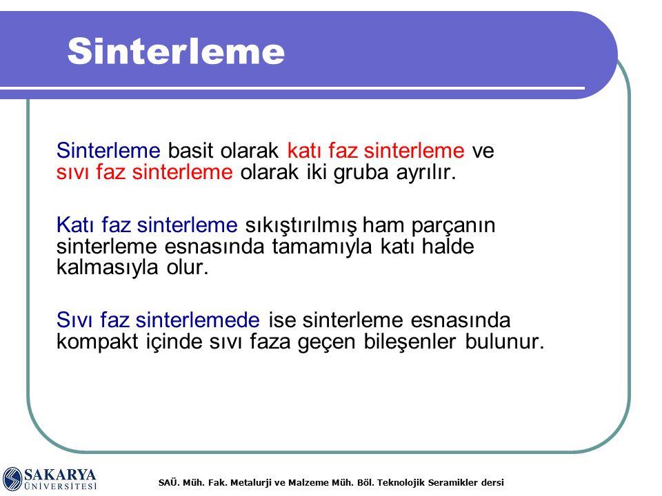 Sinterleme Sinterleme basit olarak katı faz sinterleme ve sıvı faz sinterleme olarak iki gruba ayrılır.