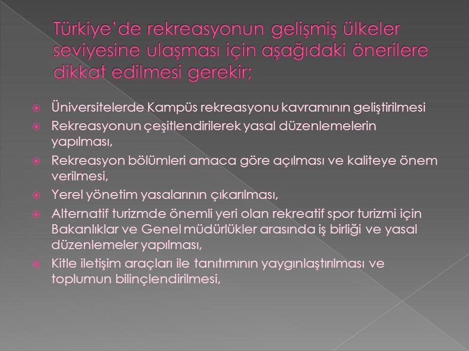 Türkiye'de rekreasyonun gelişmiş ülkeler seviyesine ulaşması için aşağıdaki önerilere dikkat edilmesi gerekir;