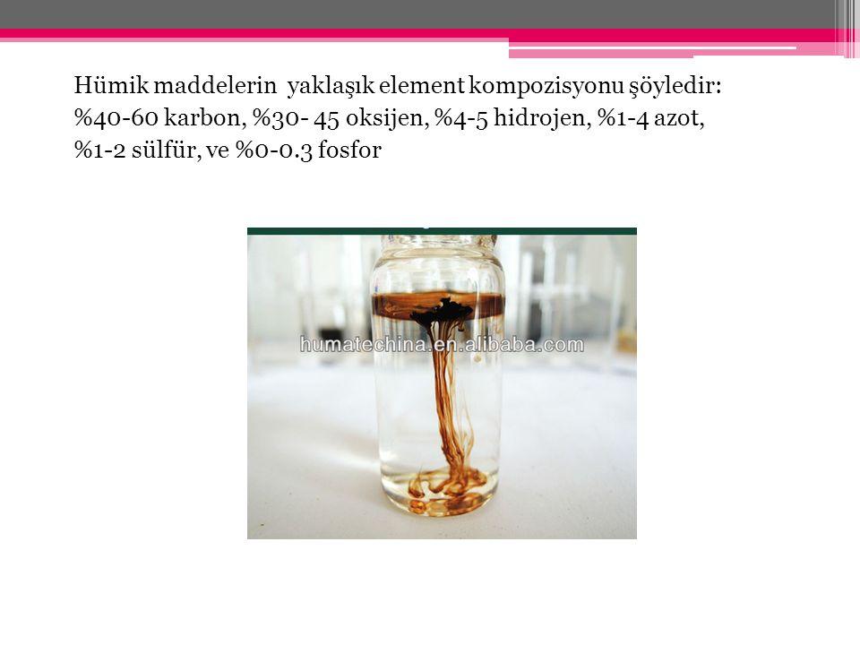Hümik maddelerin yaklaşık element kompozisyonu şöyledir: %40-60 karbon, %30- 45 oksijen, %4-5 hidrojen, %1-4 azot, %1-2 sülfür, ve %0-0.3 fosfor