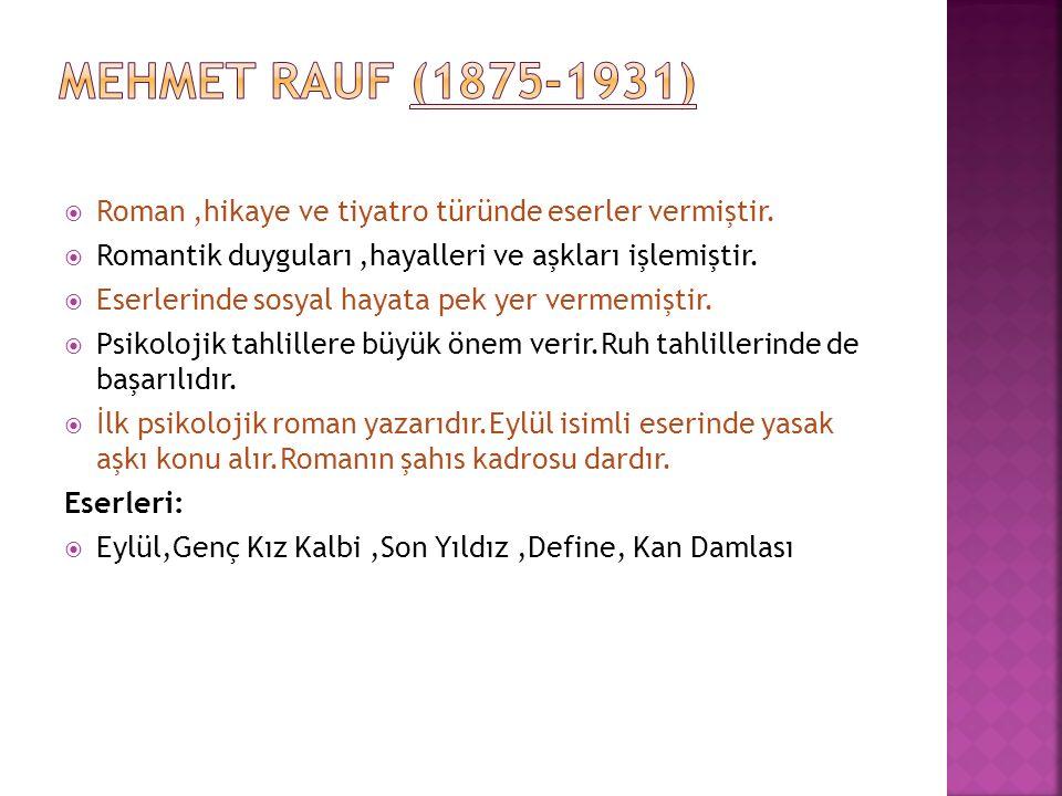 MEHMET RAUF (1875-1931) Roman ,hikaye ve tiyatro türünde eserler vermiştir. Romantik duyguları ,hayalleri ve aşkları işlemiştir.