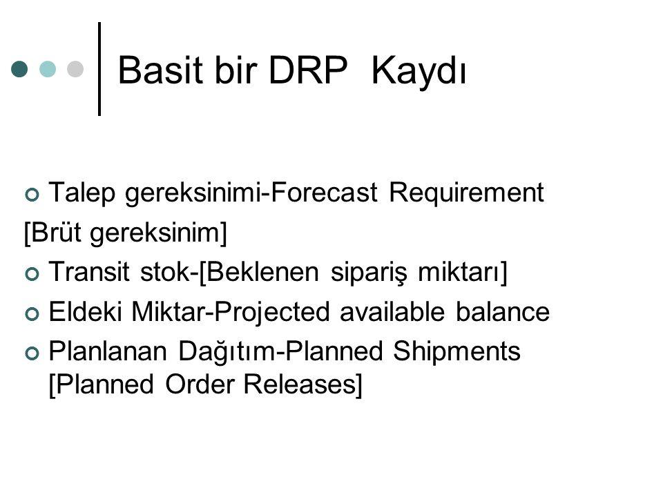 Basit bir DRP Kaydı Talep gereksinimi-Forecast Requirement