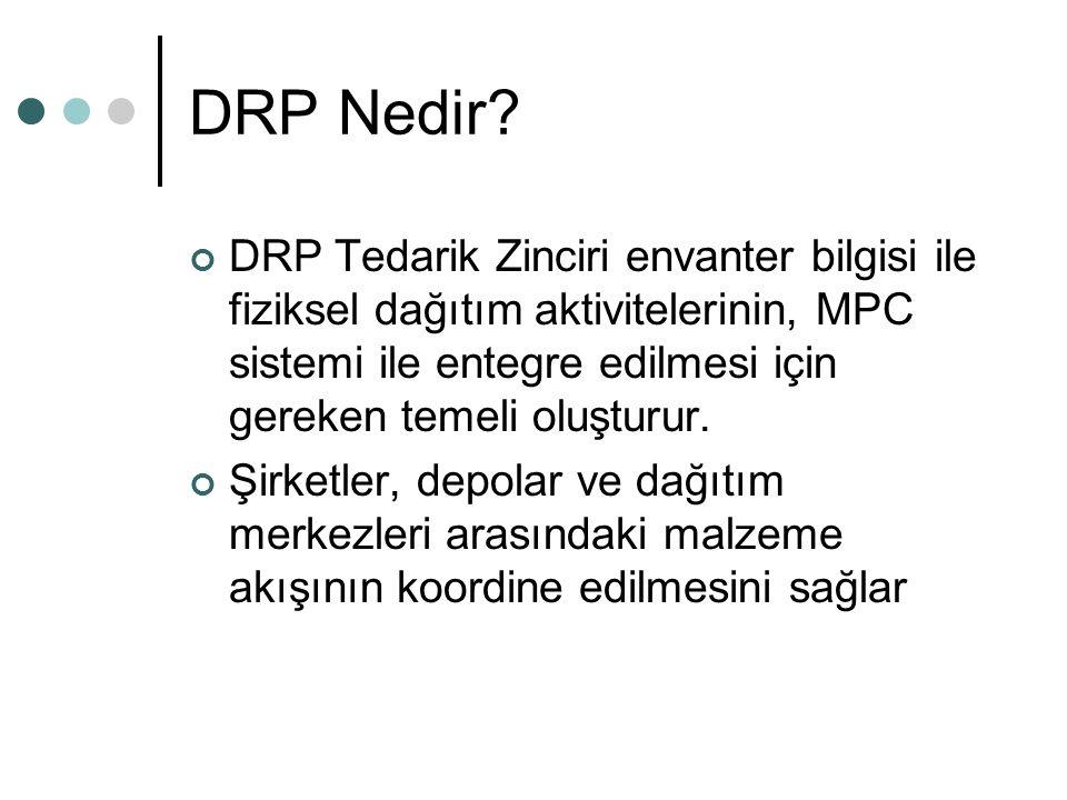 DRP Nedir DRP Tedarik Zinciri envanter bilgisi ile fiziksel dağıtım aktivitelerinin, MPC sistemi ile entegre edilmesi için gereken temeli oluşturur.