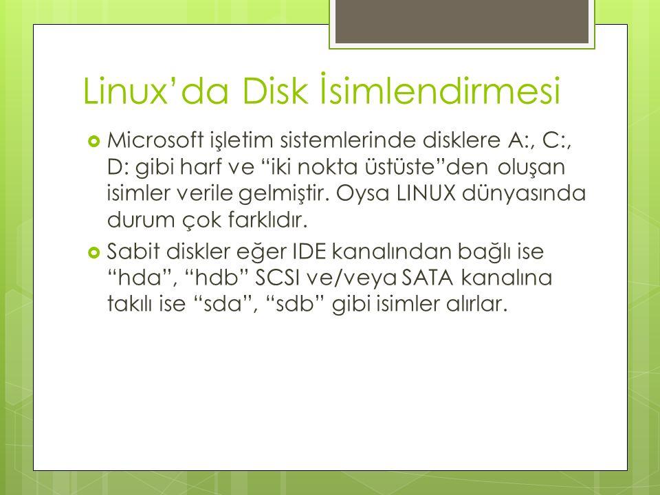 Linux'da Disk İsimlendirmesi