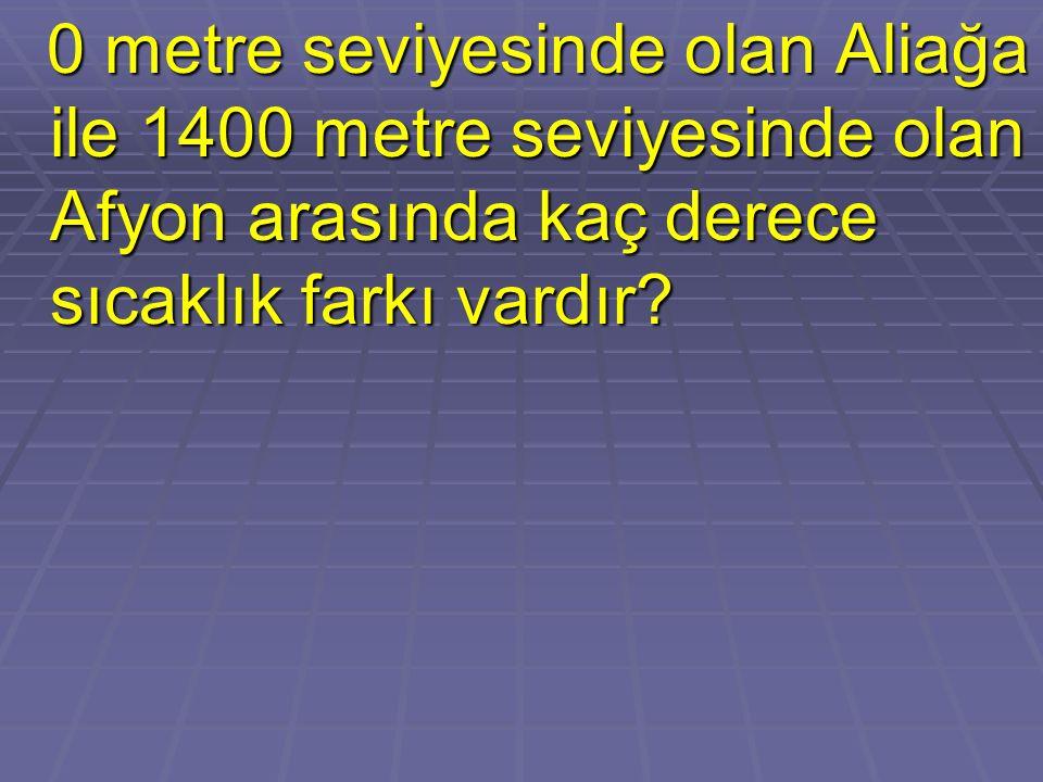 0 metre seviyesinde olan Aliağa ile 1400 metre seviyesinde olan Afyon arasında kaç derece sıcaklık farkı vardır