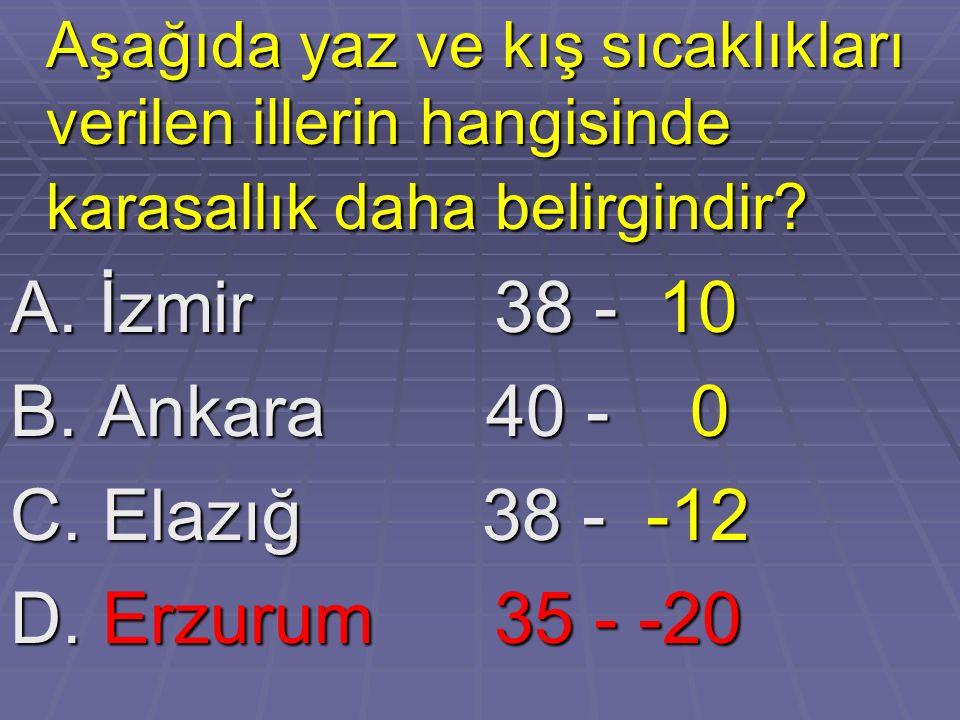 A. İzmir 38 - 10 B. Ankara 40 - 0 C. Elazığ 38 - -12