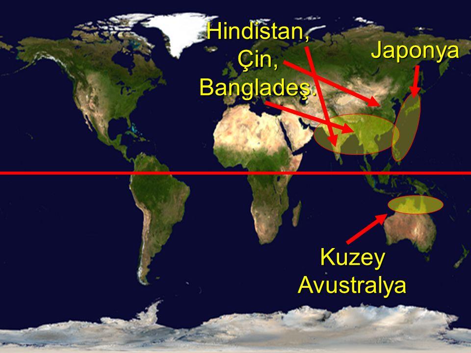 Hindistan, Çin, Bangladeş.