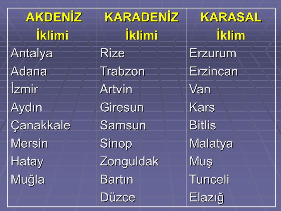AKDENİZ İklimi. KARADENİZ. KARASAL. İklim. Antalya. Adana. İzmir. Aydın. Çanakkale. Mersin.